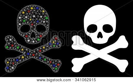 Glossy Mesh Skull And Crossbones Icon With Glare Effect. Abstract Illuminated Model Of Skull And Cro