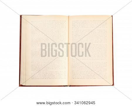Open Old Hardcover Book Isolated On White, Top View