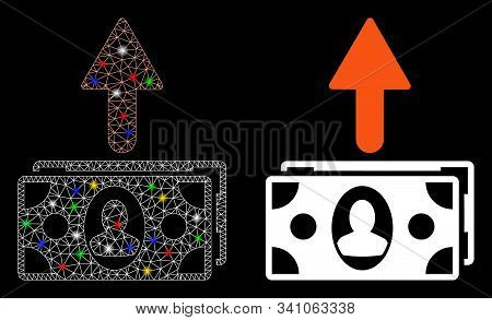 Glossy Mesh Spend Money Icon With Glitter Effect. Abstract Illuminated Model Of Spend Money. Shiny W