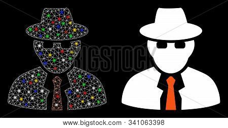 Glossy Mesh Spy Icon With Glare Effect. Abstract Illuminated Model Of Spy. Shiny Wire Frame Polygona