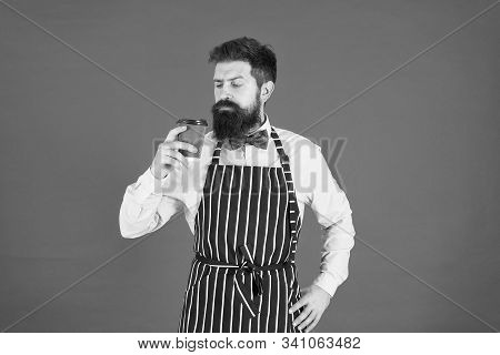 Try Delicious Drink. Male Drink Coffee. Bearded Man Hold Take Away Coffee. Brutal Waiter In Cafe. Ma