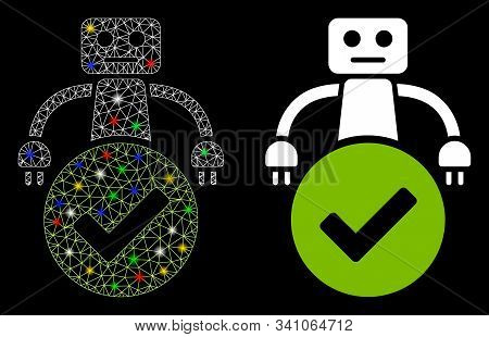 Glossy Mesh Valid Robot Icon With Glare Effect. Abstract Illuminated Model Of Valid Robot. Shiny Wir