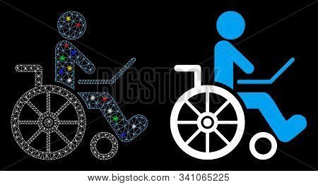 Bright Mesh Wheelchair Icon With Lightspot Effect. Abstract Illuminated Model Of Wheelchair. Shiny W