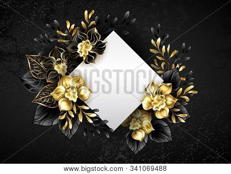 White Banner In Shape Of Rhombus, Decorated With Black And Gold, Jewelry Orchids With Twigs On Textu
