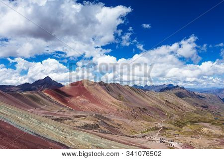 Rainbow Mountains Of Peru. Peruvian Andes. Ausangate Mountain. Valley View
