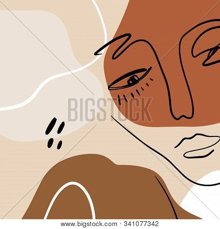 Abstract Warm Terracotta Nude Color Shapes Interior Poster Fashion Artistic Portrait Painted Illustr