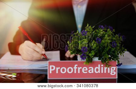 Proofreading English Card On Black Table In Office