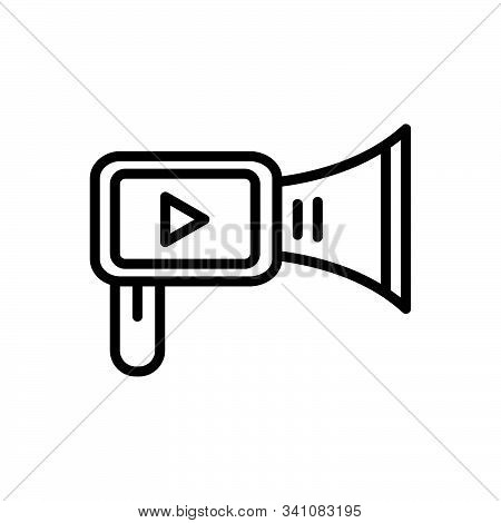 Black Line Icon For Video-marketing Video Marketing Production Broadcasting Promotion Multimedia Pub