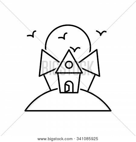 Black Line Icon For Scary-house  Scary House Haunted Creepy