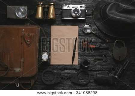 Detective Agent Table Flat Lay Background. Top Secret Document Mock Up. Investigation Tips Template.