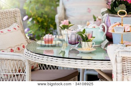 Afternoon tea and cakes in the garden
