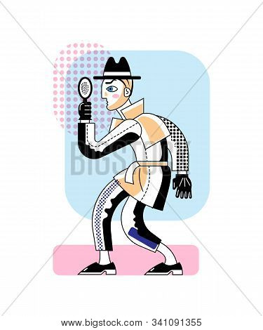 Detective With Magnifier Flat Vector Character. Police Inspector Searching Clues And Criminal Isolat