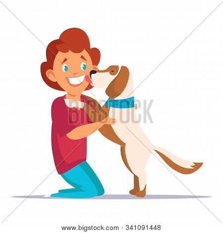 Child Playing With Dog Flat Vector Illustration. Cheerful Little Boy Cartoon Character. Smiling Kid