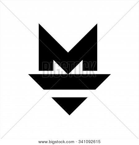 M, Mv Initials Geometric Letter Company Logo