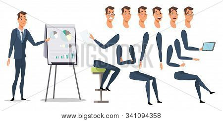 Businessman Character Poses And Emotions Set. Entrepreneur Body Parts And Office Items Pack. Cheerfu