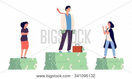 Gender Wage Gap. Unequal Incomes Concept. Male And Female Flat Vector Characters. Illustration Gende