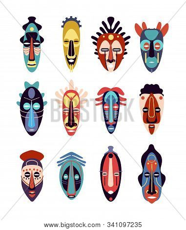 African Mask. Colorful Ethnic Tribal Ritual Masks Of Different Shapes, Ceremonial Hawaiian, Aztec Ti