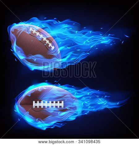Flying Rugby Ball In Blue Fire Isolated On Black Background. Vector Realistic Symbol Of American Foo