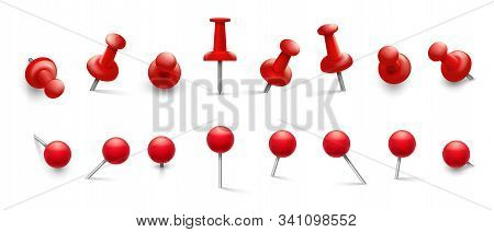 Red Thumbtack. Push Pins In Different Angles For Attachment. Pushpins With Metal Needle And Red Head