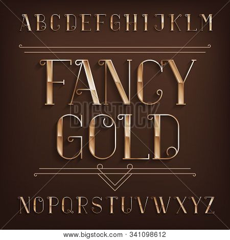 Fancy Gold Alphabet Font. Retro Bright Letters With Shadow. Stock Vector Typescript For Your Design.