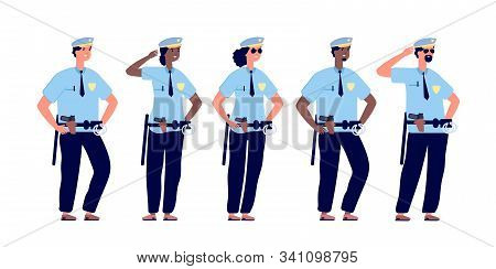 Policeman Group. Police Officers, Police Man And Police Woman In Cops Uniform. Professional Security