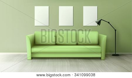 Interior With Green Sofa, Lamp And Blank White Posters On Wall In Living Room. Vector Realistic Couc