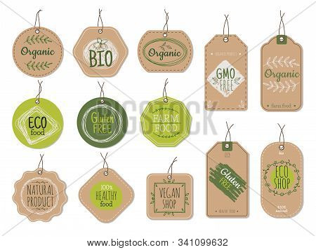 Organic Cardboard Labels. Eco Paper Badges, Green Farm Nature Product Price Shop Tags With Ecologic