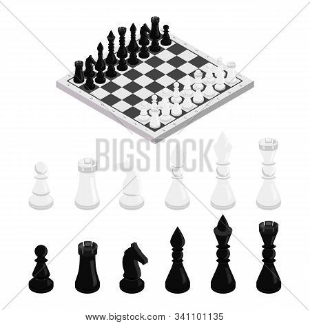Figures On Chessboard Isometric Illustration. Black And White Chess Pieces Vector Set. King, Queen,