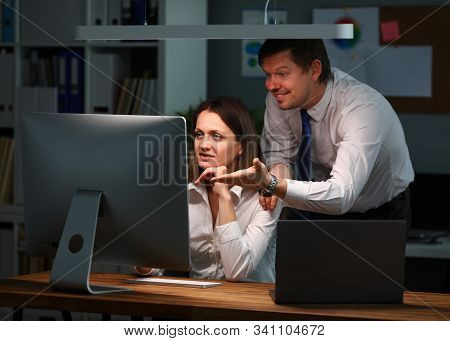 Portrait Of Smiling Manager Discussing With Biz Colleague Financial Statement. Happy Man Wearing Str
