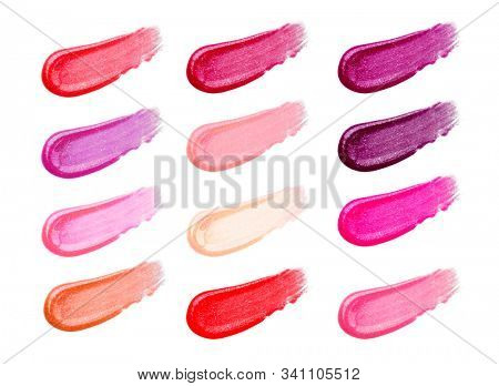 Lip gloss face make-up samples palette. Set of colorful cosmetic liquid lipgloss in different colour smudge smear strokes. Make up smears isolated on a white background. Lipstick colors