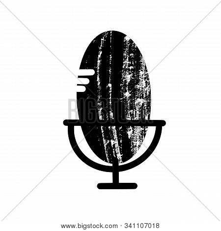 Microphone Sign Isolated On White Background. Podcast Logo Emblem. Mike Symbol. Vector Illustration.