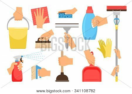 Hands With Household Equipment. Clean And Dust Houseworker Hand Set, Household Manipulations With Sp