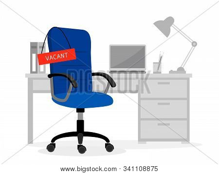 Empty Office Desk And Vacant Chair. Computer Free Job Place Cartoon Vector Illustration For Vacancy