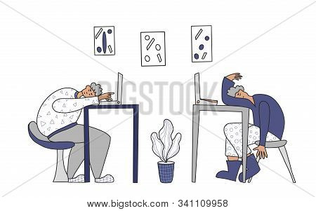 Overtime Concept. Tired Men Sitting At The Table And Sleeping. Exhausted Freelancers At Laptops. Vec