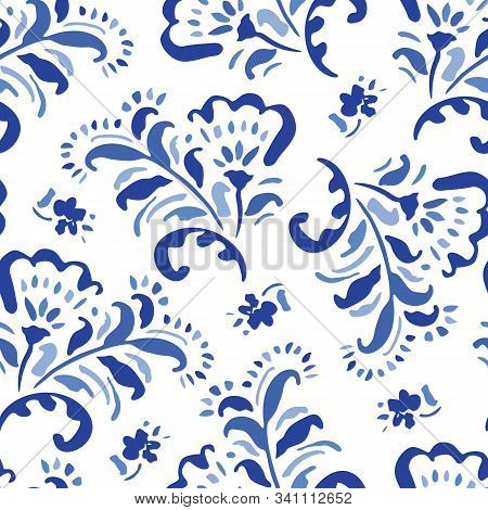 Blue Hand-drawn Classic Chintz Floral Vector Seamless Pattern On White Background. Folk Flowers Mono