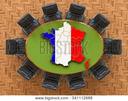 French Goverment Meeting. Map Of France On The Round Table, 3d Rendering