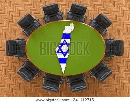 Israeli Goverment Meeting. Map Of Israel On The Round Table, 3d Rendering