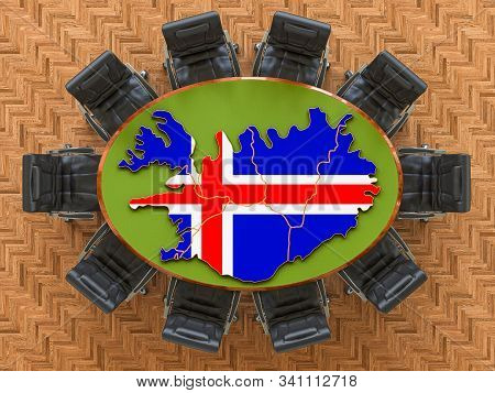 Icelandic Goverment Meeting. Map Of Iceland On The Round Table, 3d Rendering
