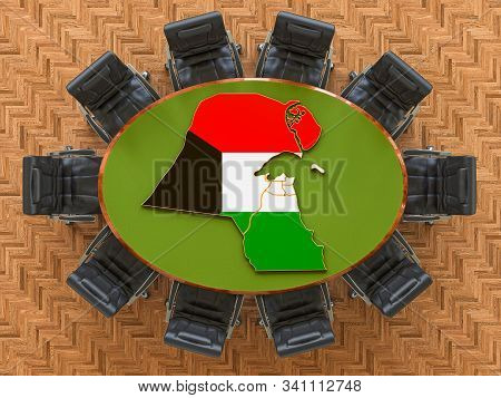 Kuwait Goverment Meeting. Map Of Kuwait On The Round Table, 3d Rendering