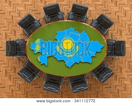 Kazakh Goverment Meeting. Map Of Kazakhstan On The Round Table, 3d Rendering