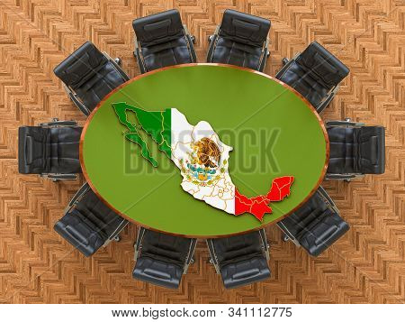 Mexican Goverment Meeting. Map Of Mexico On The Round Table, 3d Rendering