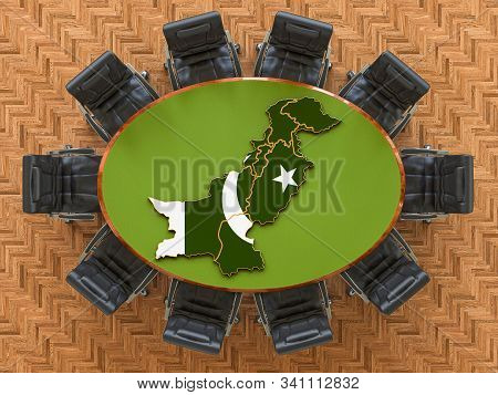 Pakistani Goverment Meeting. Map Of Pakistan On The Round Table, 3d Rendering