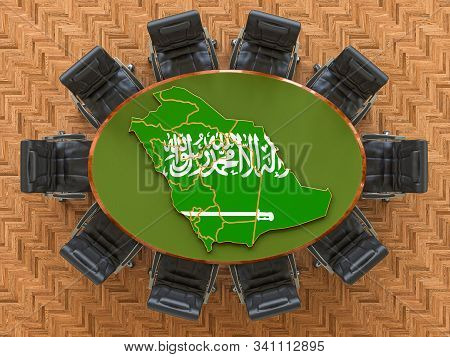 Saudi Arabian Goverment Meeting. Map Of Saudi Arabia On The Round Table, 3d Rendering