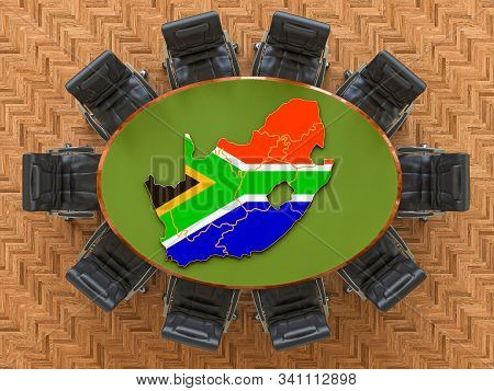 South African Goverment Meeting. Map Of South Africa On The Round Table, 3d Rendering