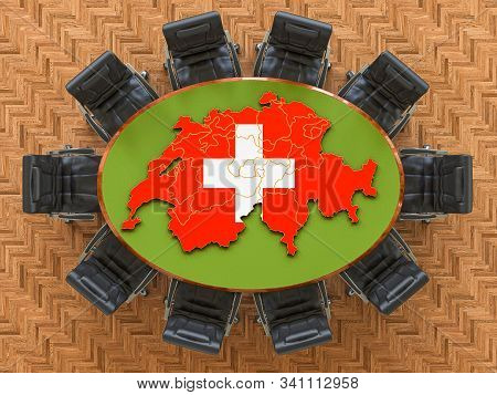 Swiss Goverment Meeting. Map Of Switzerland On The Round Table, 3d Rendering