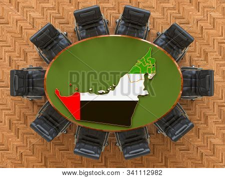 The Uae Goverment Meeting. Map Of The United Arab Emirates On The Round Table, 3d Rendering