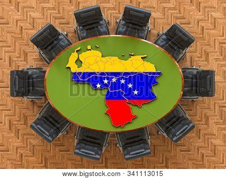Venezuelan Goverment Meeting. Map Of Venezuela On The Round Table, 3d Rendering