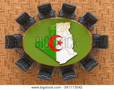 Algiers Goverment Meeting. Map Of Algeria On The Round Table, 3d Rendering