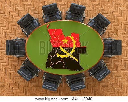 Angolan Goverment Meeting. Map Of Angola On The Round Table, 3d Rendering