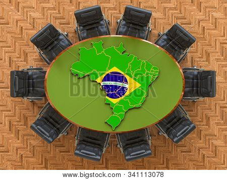 Brazilian Goverment Meeting. Map Of Brazil On The Round Table, 3d Rendering